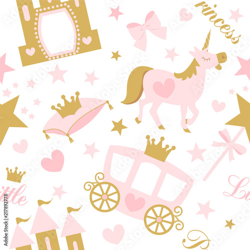Cute Girlish Seamless Pattern With Royal Carriage Castle And Unicorn Vector Pink Background With Crown And Star Little Princess Party Birth Baby Shower Invite Card Nursery Wallpaper And Textile Buy This Stock Vector