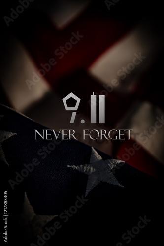 Fotografia  American Flag Photograph with 9/11 Tribute