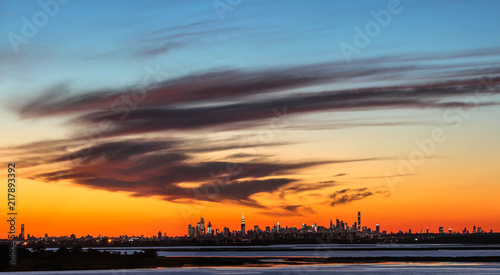 Deurstickers New York City Panorama New York City with landscape in the foreground