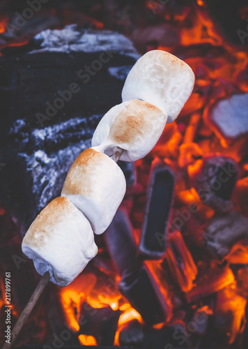 set of sweet marshmallows roasting over red fire flames marshmallow