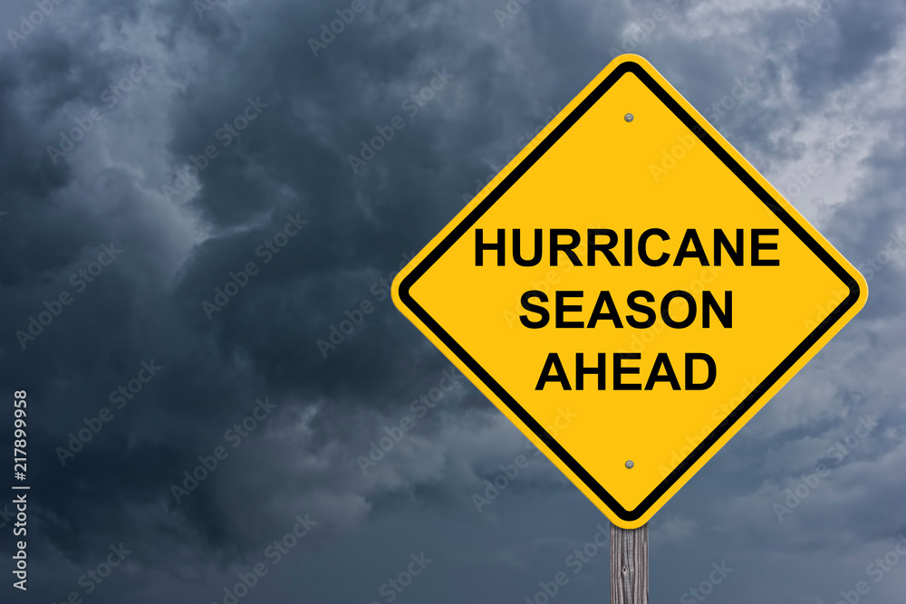 Fototapety, obrazy: Hurricane Season Ahead Caution Sign