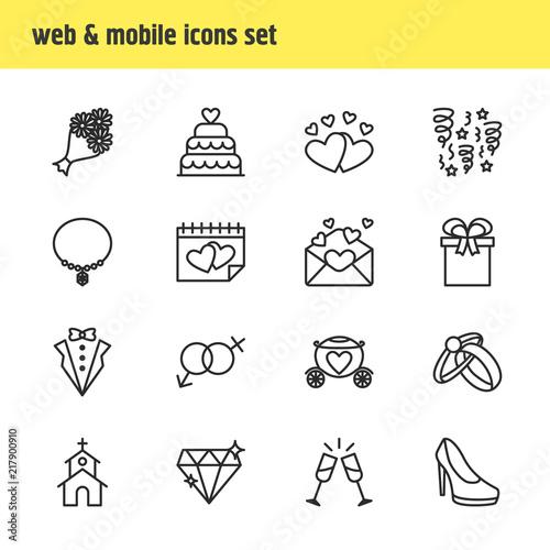 4d5ae3c943 Vector illustration of 16 wedding icons line style. Editable set of  invitation