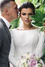 Brunette Bride Hides Her Face ...