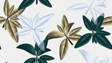 Seamless pattern, green, golden and white leaves on light grey background