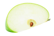 Fresh Green Apple Fruit Slice Isolated On The White Background With Clipping Path. One Of The Best Isolated Apples Slices That You Have Seen.