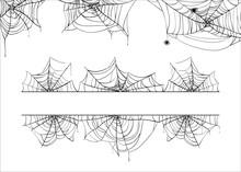 Halloween Spiderweb Vector Border. Cobweb Corner Frame Background Illustration Isolated On White