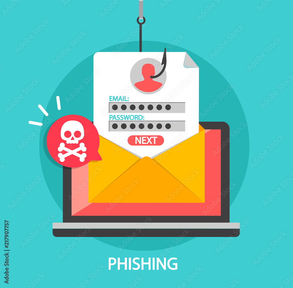 Fototapeta Phishing login and password on fishing hook in email envelope. Concept of Internet and network security. Hacking online scam on laptop. Flat style vector illustration.