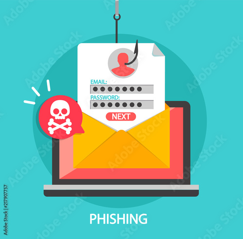 Fotografía Phishing login and password on fishing hook in email envelope