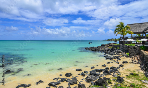 Garden Poster South America Country Seascape of Mauritius Island