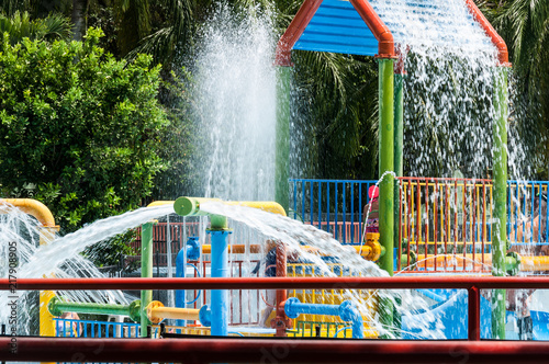 Canvas Prints Graffiti collage Water park, pool area for children on a sunny day