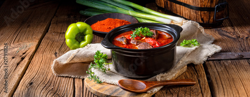 Fototapeta A real Hungarian goulash with beef and paprika