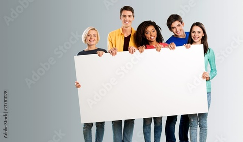 Fotografie, Obraz  Group of diverse multiethnic happy young people posing with a