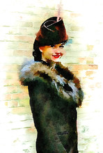 Watercolour Painting Of Attractive Woman In 1940s Fashion. Portrait Showing Outdoor Fashion Of The Era, Fur Collar Coat And Hat. Brick Wall And White Background.