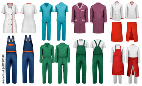 Canvas Print Set of overalls with worker and medical clothes