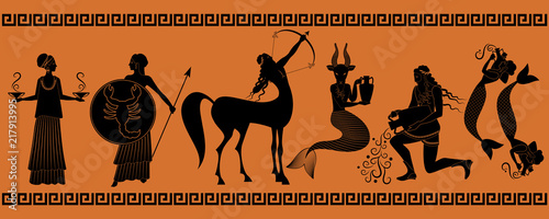 Obraz The last six signs of the zodiac as myths of ancient Greece in decorative border: Libra, Scorpio, Sagittarius, Capricorn, Aquarius, Pisces - fototapety do salonu