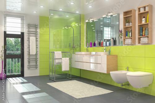 Modernes Badezimmer in weiß und grün mit Dusche, WC, Bidet ...