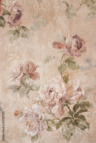 Vintage Background with Roses - Floral Illustration - Old Paper Texture