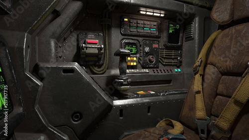 Foto Science fiction pilot's seat in the cockpit