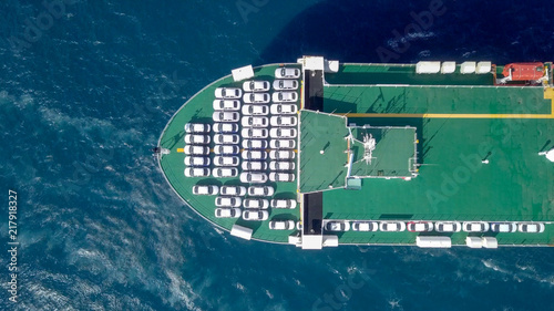 Photo Aerial image of a Large RoRo (Roll on/off) Vehicle carrie vessel cruising the Me