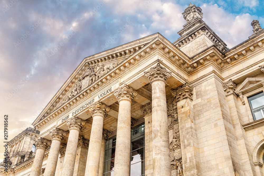 Fototapety, obrazy: view of famous Reichstag or Bundestag building, seat of the German Parliament with no people. Travel and Politics in Berlin concept