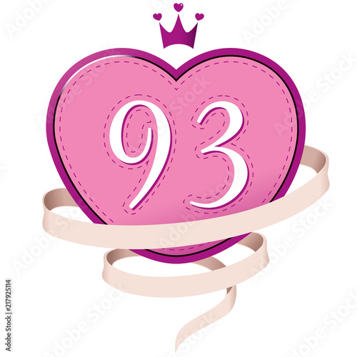 Fotografie, Obraz  Pink Heart with a Crown, Ribbon and Number 93