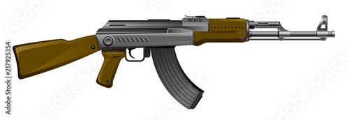 Kalashnikov rifle ak-47 on a white background Wallpaper Mural