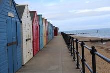 Beach Huts So Colourful.mudesley Norwich England