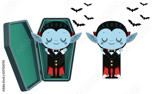 Cute cartoon tiny vampire Dracula sleep in coffin Wallpaper Mural