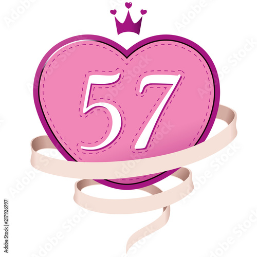 Valokuva Pink Heart with a Crown, Ribbon and Number 57