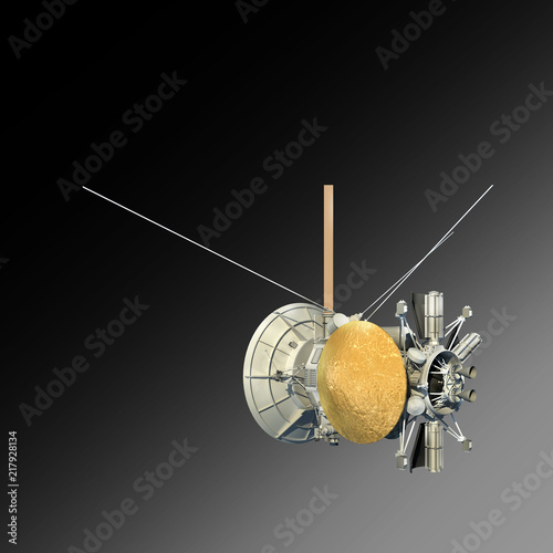 Obraz na plátne Unmanned spacecraft or satellite orbiter with clipping path