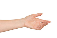 Caucasian Woman's Hand Outstretched In A Helping Hand, Caring Gesture. Isolated On White.