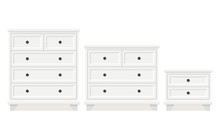Drawer Chest, Dresser, Bedside Table. Vector. White Furniture Icon In Flat Design. Cartoon House Equipment For Bedroom And Living Room Isolated On White Background.