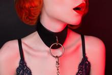 Redhead Girl On Black Backgrou...