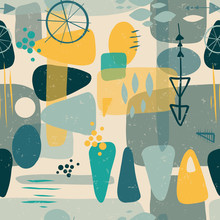 Mid Century Shapes Abstract Se...