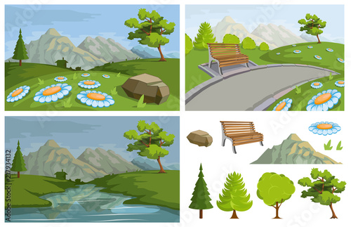 Spoed Foto op Canvas Blauwe hemel Landscape with a Mountains and Trees. Nature as a background. Park elements for landscape. Hand drawn Cartoon nature. Paysage with blue sky and flower fields. Vector graphics to design