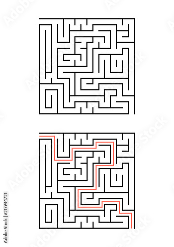 A square maze for children. Simple flat vector illustration isolated on white background. With the answer.