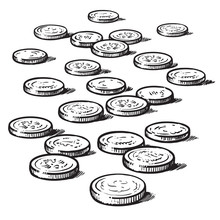 Sketch Of Coins Isolated On Wh...