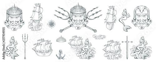Photo  Poseidon - Ancient Greek supreme sea god