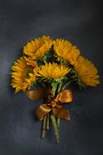 Sunflower Bunch On Gray