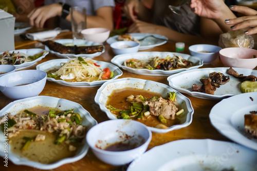 Fotografía Leftover food after meal at restaurant