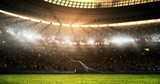 Fototapeta sport - Photo of a professional soccer stadium while the sun shines