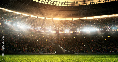 Photo of a professional soccer stadium while the sun shines Canvas-taulu