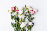 A bouquet of delicate pink flowers, eustoma.