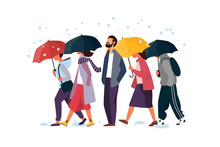 People Holding Umbrella, Walking Under The Rain. Man And Woman Autumn Characters Vector Illustration.