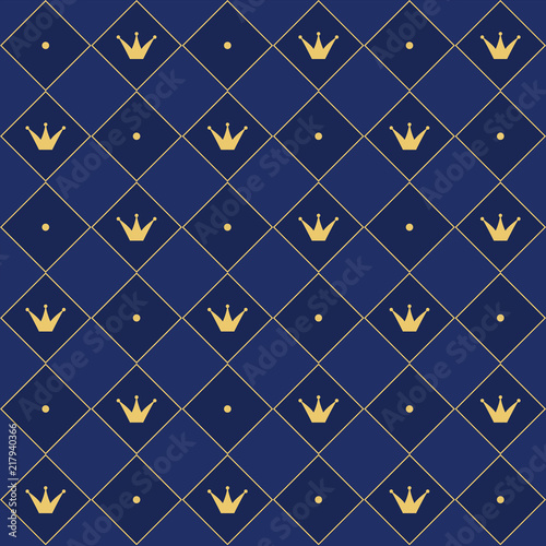 Navy Blue Seamless Pattern In Retro Style With A Gold Crown Can Be