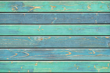 Texture Of Old Wooden Fence In Turquoise Green Shades, Hues. Rustic Natural Wooden Planks, Cracks, Scratches For Background, Copy Space