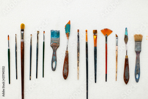 A set of the artist lies on a white background. Vintage brushes