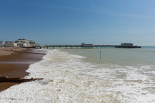 Worthing Beach And Pier West Sussex England UK