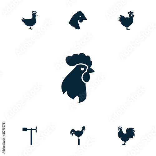 Collection of 7 cockerel filled icons Fototapete