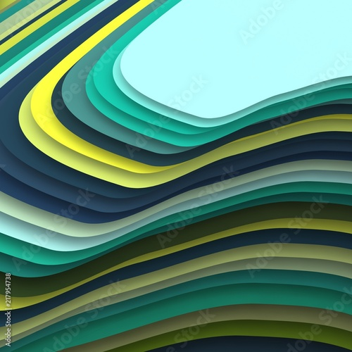 Poster Abstract wave Colorful geometric 3d patterns.